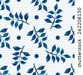 seamless floral pattern. blue... | Shutterstock .eps vector #262208150