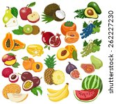 collection of isolated fruits... | Shutterstock .eps vector #262227230