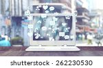 white notebook with social... | Shutterstock . vector #262230530
