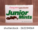 RIVER FALLS,WISCONSIN-MARCH 20,2015: A box of Junior Mints candy. This candy is produced by Tootsie Roll Industries. - stock photo