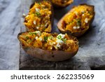 baked sweet potato with feta... | Shutterstock . vector #262235069