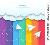 paper clouds and planes flying... | Shutterstock .eps vector #262241630