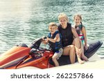 people enjoying a ride on a... | Shutterstock . vector #262257866