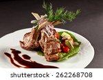 rack of lamb with vegetables...   Shutterstock . vector #262268708