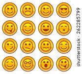 smiley coins gold icons  signs  ...