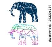 abstract geometric elephant set ... | Shutterstock .eps vector #262306184