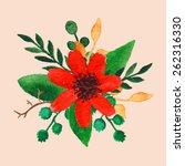 vector watercolor flower | Shutterstock .eps vector #262316330