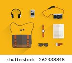 what's in my messenger bag | Shutterstock .eps vector #262338848
