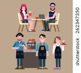 people in a coffee shop | Shutterstock .eps vector #262347350