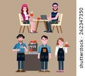 people in a coffee shop | Shutterstock .eps vector #262347350
