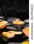 orange rose petals with candle... | Shutterstock . vector #262356623