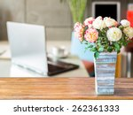 artificial flower vase on table ... | Shutterstock . vector #262361333
