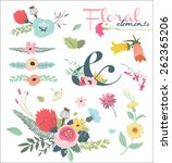 vintage flower elements   Shutterstock .eps vector #262365206