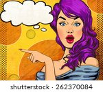 pop art girl with the speech or ... | Shutterstock . vector #262370084