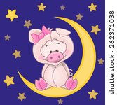 cute pig is sitting on the moon | Shutterstock . vector #262371038
