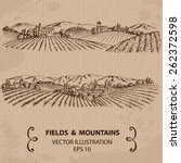 Fields And Mountains. Hand...