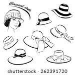 vintage fashion girl in hat and ... | Shutterstock .eps vector #262391720