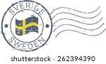 postal grunge stamp 'sweden'....   Shutterstock .eps vector #262394390