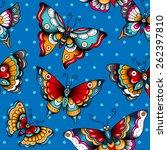 old school butterflies on a... | Shutterstock .eps vector #262397810