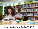 student studying in the library ... | Shutterstock . vector #262405496