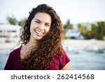 portrait of a young woman... | Shutterstock . vector #262414568