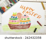 happy easter card with basket ... | Shutterstock . vector #262432358