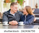 photo of young couple talking... | Shutterstock . vector #262436750