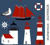 set of the lighthouses  seagull ... | Shutterstock .eps vector #262450628