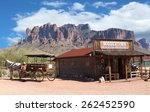 old wild west cowboy town with... | Shutterstock . vector #262452590