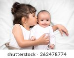 cute big sister with new... | Shutterstock . vector #262478774