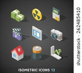 flat isometric icons set 12 | Shutterstock .eps vector #262485410