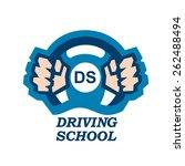 driving school logo hands on ...   Shutterstock .eps vector #262488494
