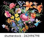 large  bouquet with elves... | Shutterstock . vector #262496798