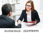 job applicant having interview. ... | Shutterstock . vector #262498490