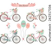wedding bicycles flowers banner ... | Shutterstock .eps vector #262517336