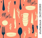 seamless cafe pattern in retro... | Shutterstock .eps vector #262518383