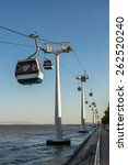 Small photo of Aerial tramway in the Nations Park in a summer day in Lisbon, Portugal.