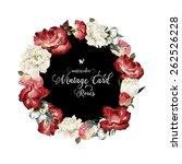 wreath of roses  watercolor ... | Shutterstock . vector #262526228