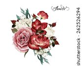 bouquet of roses  watercolor ... | Shutterstock . vector #262526294