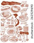 set of vietnamese food doodles. ... | Shutterstock .eps vector #262529690