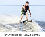 Athlete Water Skiing And Have...