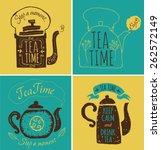 set of labels on theme tea. tea ... | Shutterstock .eps vector #262572149