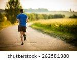 male athlete runner running on... | Shutterstock . vector #262581380