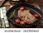 Fried Beef Steak In A Frying...