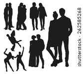 couples silhouettes | Shutterstock .eps vector #262585268