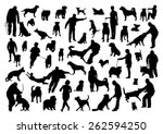 people and dogs silhouettes set | Shutterstock .eps vector #262594250