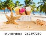 ice cream scoops on sandy beach ... | Shutterstock . vector #262597250