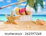 ice cream scoops on sandy beach ... | Shutterstock . vector #262597268