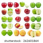 set of apple on a white... | Shutterstock . vector #262601864
