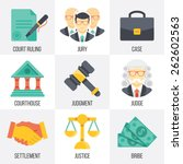 vector court icons set. flat...